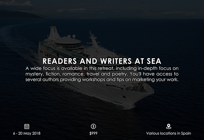 best retreats and workshops for fiction writers 2018 - Readers and Writers at Sea vbdusa.com