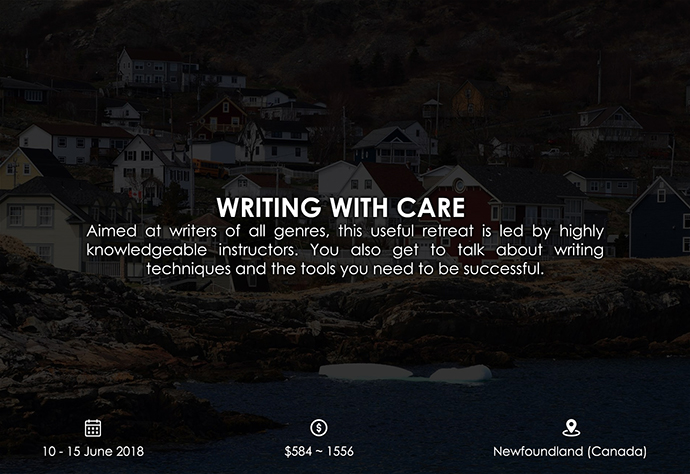 best retreats and workshops for fiction writers 2018 - Writing with Care ochrehouse.ca
