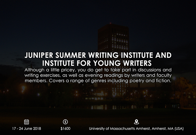 best retreats and workshops for fiction writers 2018 - Juniper Summer Writing Institute and Institute for Young Writers umass.edu