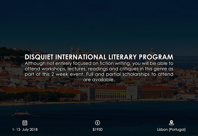 best retreats and workshops for fiction writers 2018 - DISQUIET International Literary Program disquietinternational.org