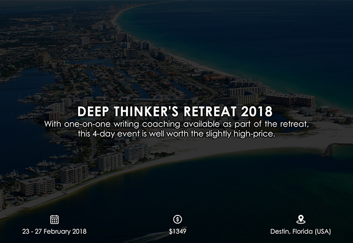 best retreats and workshops for fiction writers - Deep Thinker's Retreat 2018 learnhowtowriteanovel.com