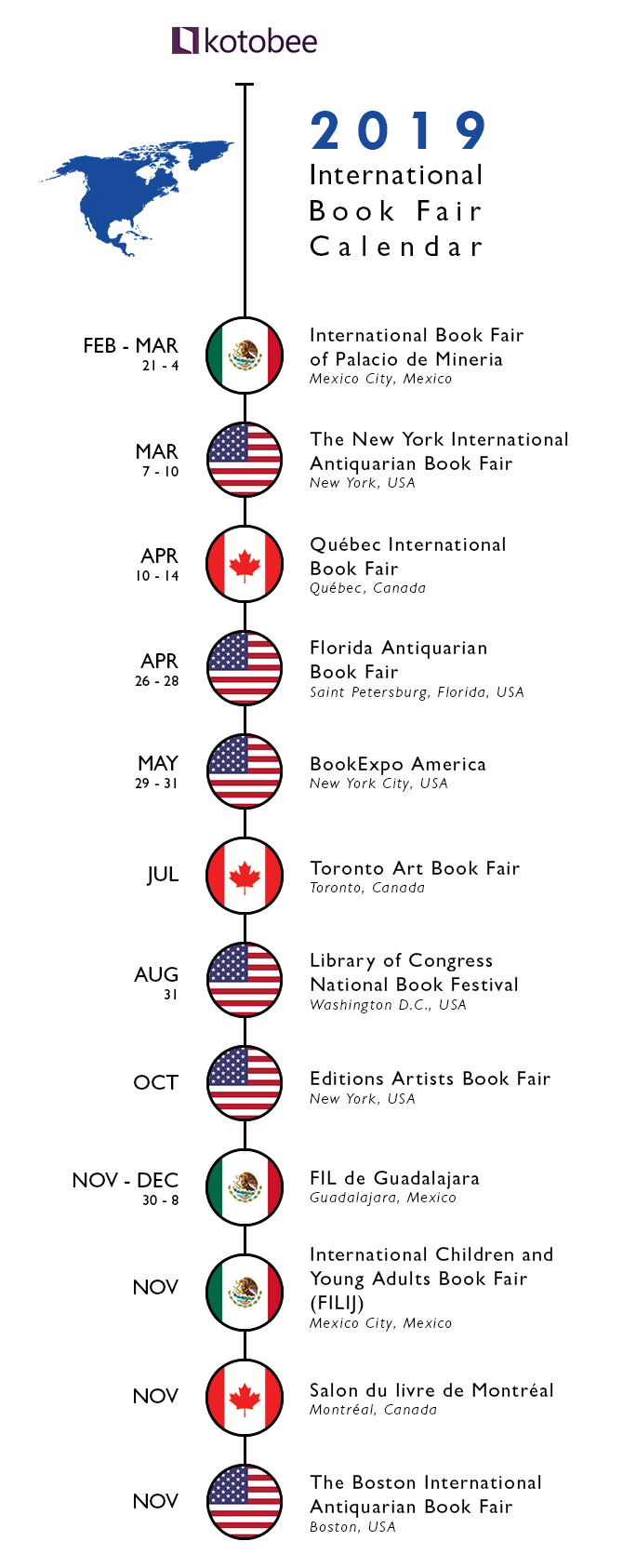 2019 North America Book fair Calendar