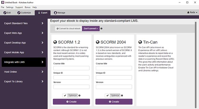 kotobee export as scorm package
